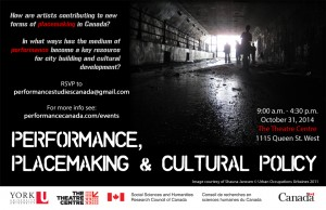 Performance, Placemaking and Cultural Policy Workshop Poster