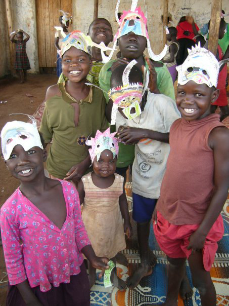 photo of a group of children wearing homemade masks