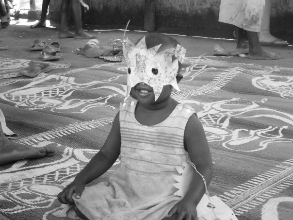 photo of a child wearing a homemade mask